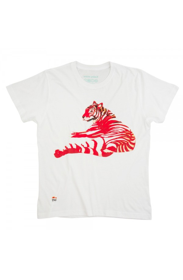 "T-shirt ""Red tiger"" in 100% cotone, made in Italy"