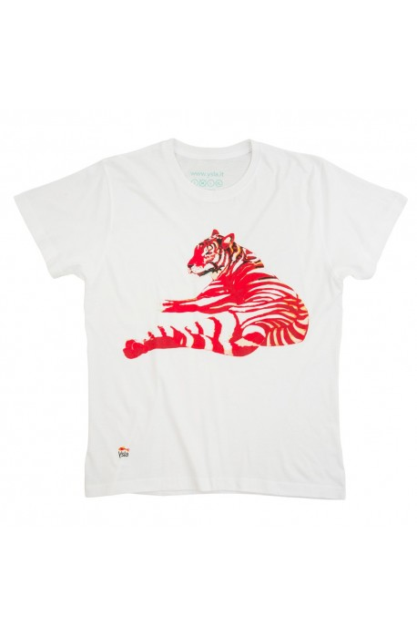 "T-shirt ""Red tiger"" 100% cotton, made in Italy"