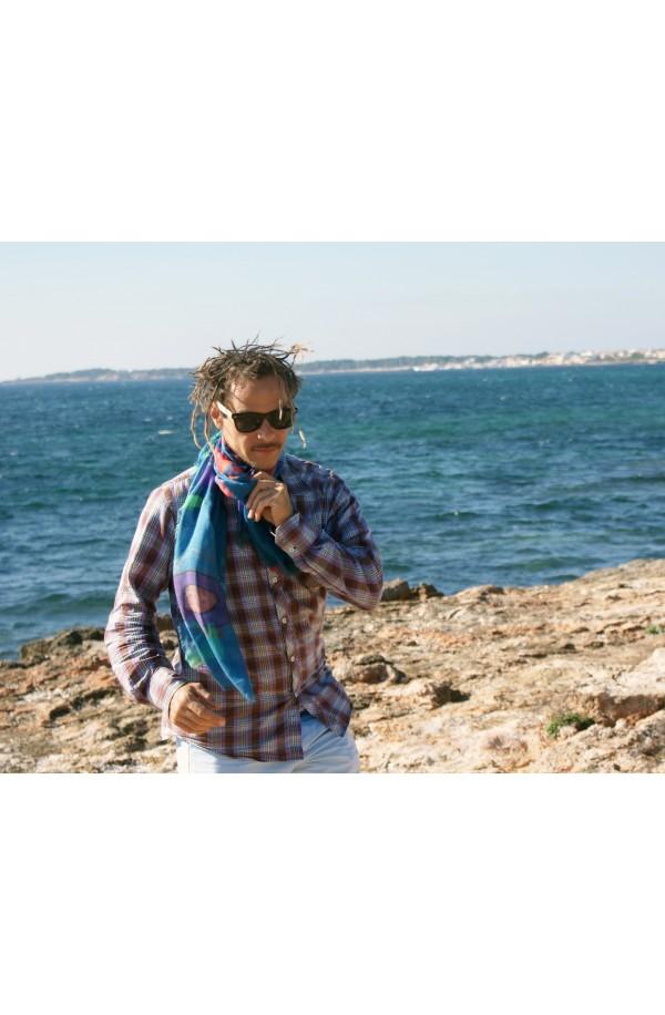"""Sciarpa in modal e cashmere con tema """"Formentera"""", made in Italy"""