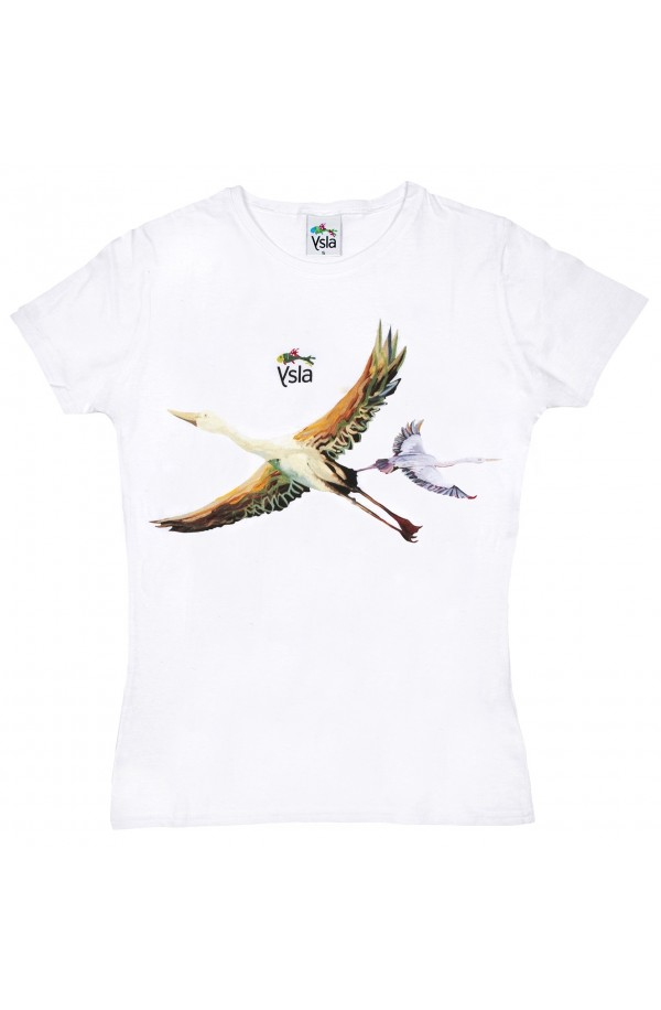 "T-shirt ""Flying away"" 100% cotton, made in Italy"