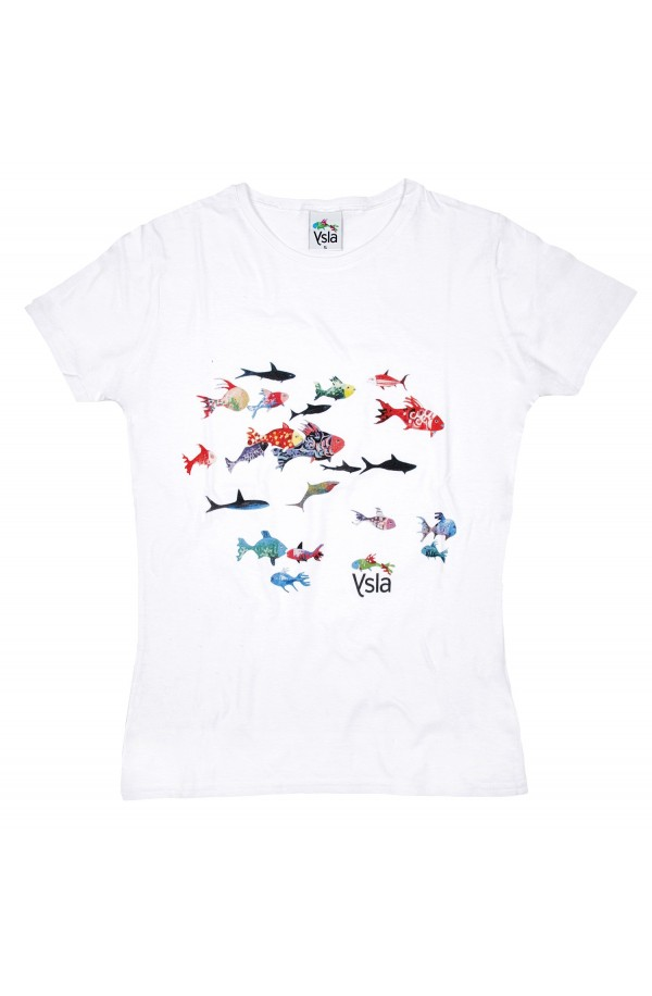 """T-shirt """"Different fishes"""" 100% cotton, made in Italy"""