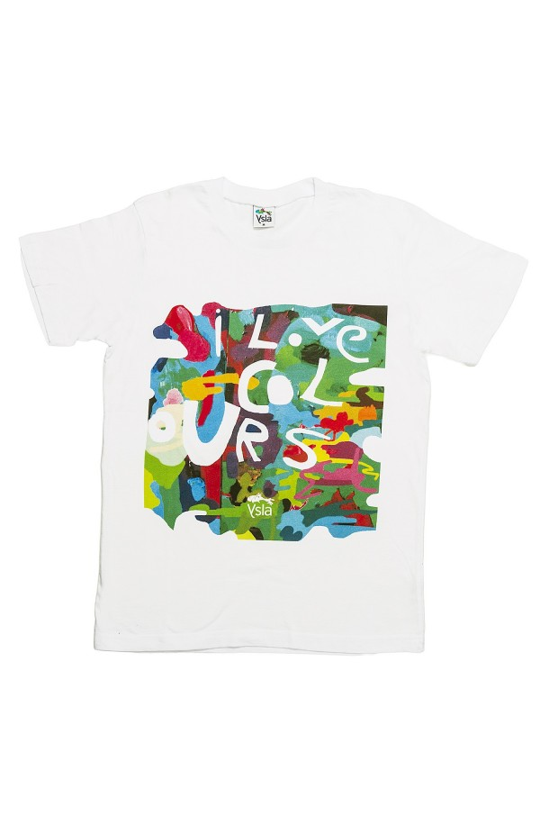 "T-shirt ""I love colours"" in 100% cotone, made in Italy"