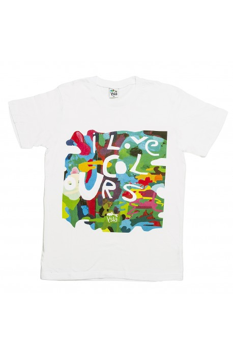 "T-shirt ""I love colours"" 100% cotton, made in Italy"