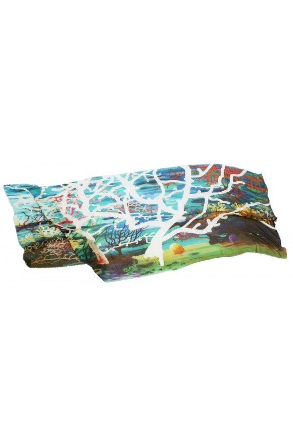 """Scarf in modal and cachemere theme """"White coral"""", made in Italy"""