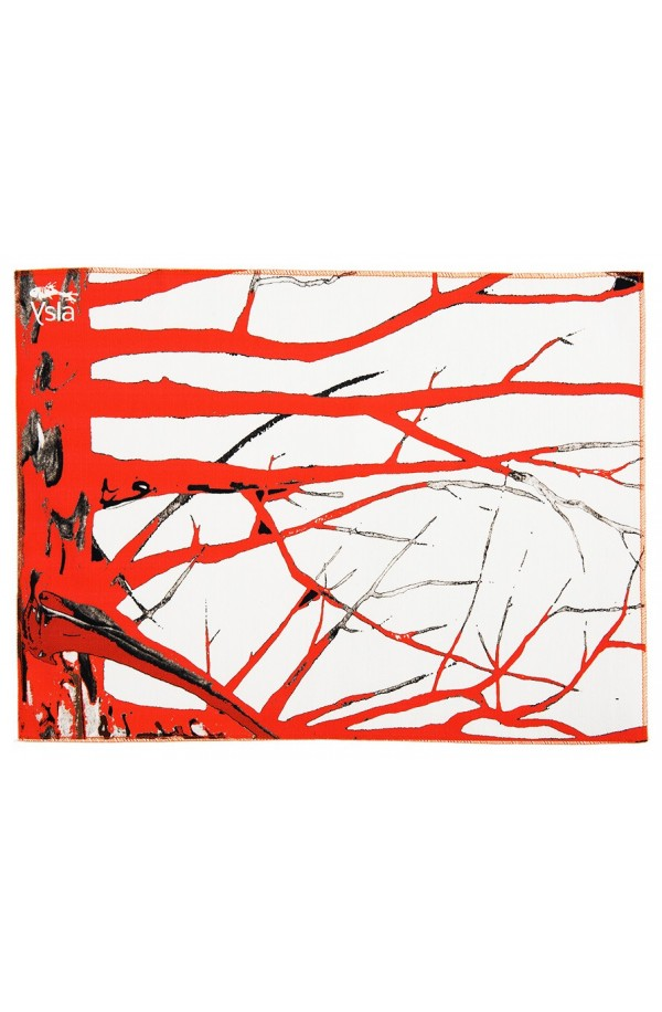 """Tovaglietta in 100% cotone con tema """"Red tree"""", made in Italy, set di 2."""