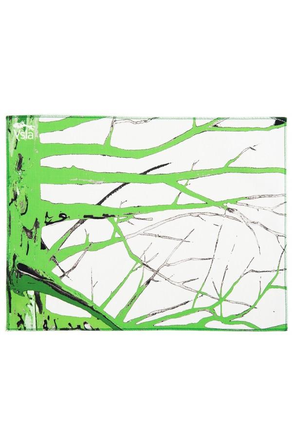 """Tovaglietta in 100% cotone con tema """"Green tree"""", made in Italy, set di 2."""