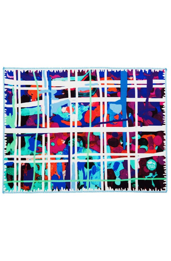 "Tapete ""Square garden"" color azul en 100% algodòn, made in Italy"
