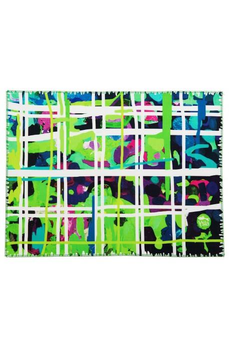 """Tovaglietta in 100% cotone con tema """"Square garden"""" colore verde, made in Italy"""