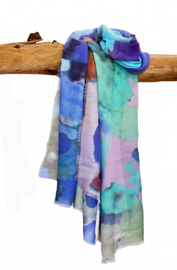 "Scarf in modal and cachemere theme ""Ibiza"", made in Italy"