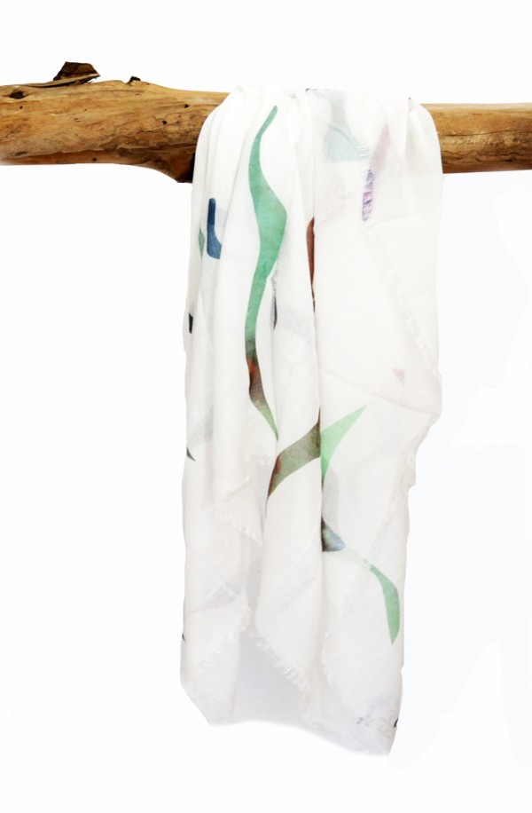 "Scarf in modal and cachemere theme ""Birdwatching"", made in Italy"