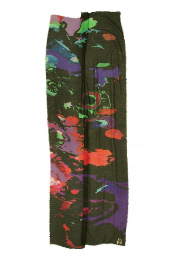 """Sciarpa in cashmere e cotone con tema """"Hanoi"""", made in Italy"""