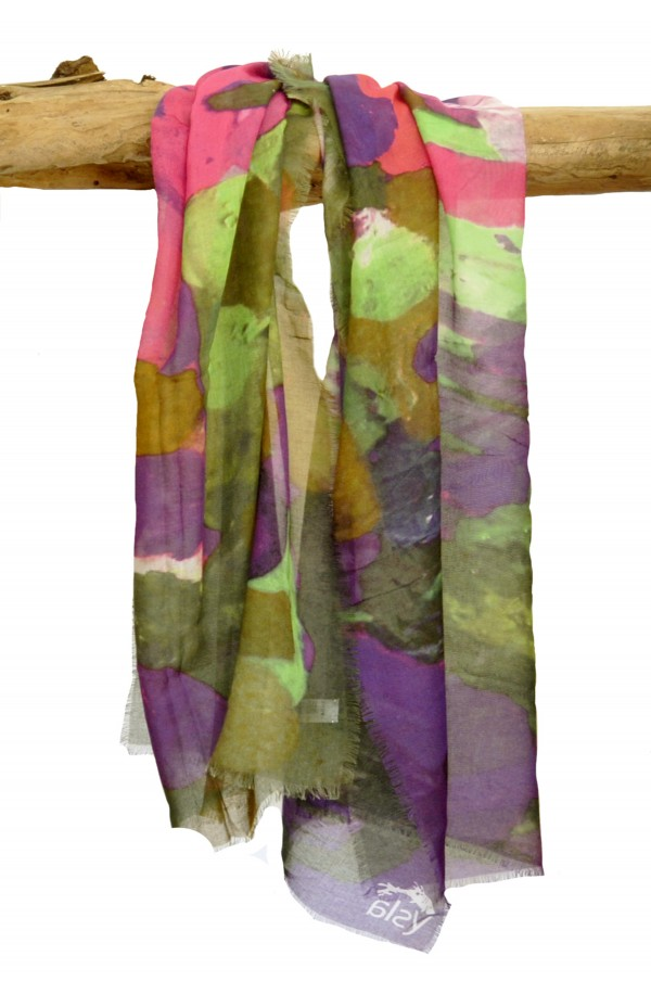 "Scarf in cashmere and cotton theme ""Amsterdam"", made in Italy"