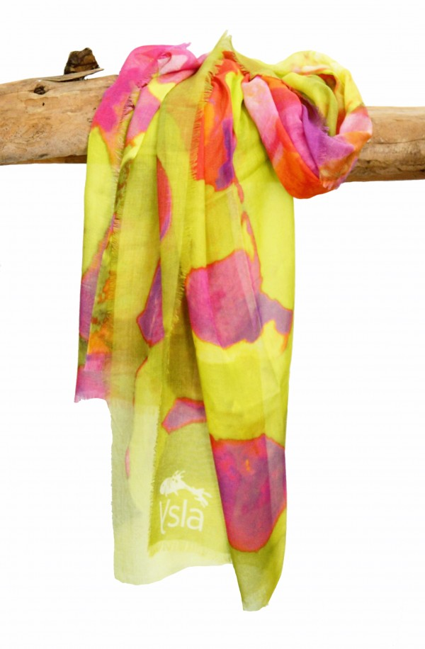 "Scarf in modal and cachemere theme ""Fuerteventura"", made in Italy"